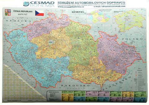 Nástěnná mapa ČR - PSČ