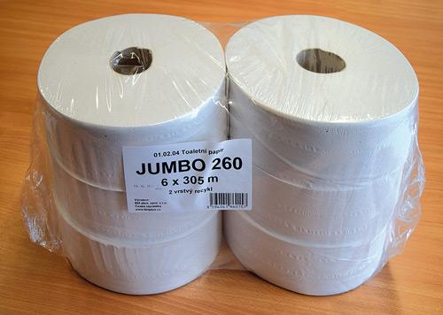 Papír toaletní Jumbo 260mm, 2 vrstvy, 6ks