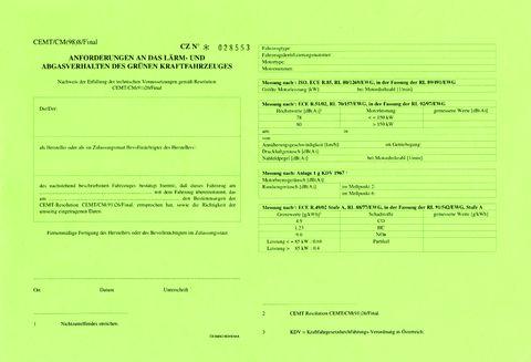Atest CEMT pro EURO 1 zelený kamion