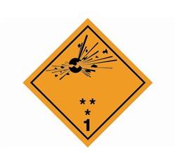 Samolepka bezp.značka tř.1.1, 1.2, 1.3 Náchylné k výbuchu, 25x25