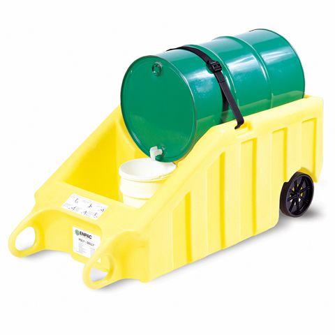 Vozík s pneumatikami na výdej kapalin, žlutý