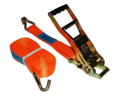 Upínací pás 10 m/5 t s dlouhou ERGO ráčnou s obšitým štítkem a dvěma háky
