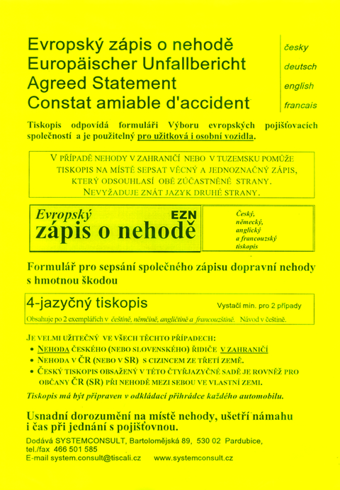 Evropský zápis o nehodě - 8jazyčný