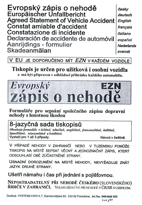Evropský zápis o nehodě - 4jazyčný