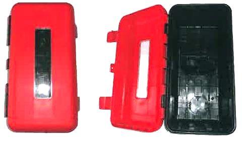 Plastový kryt na 6kg hasicí přístroj (červenočerný s obdélníkovým okénkem)