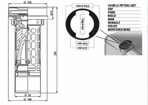 Ochrana hrdla nádrže s plovákem 105,5 mm