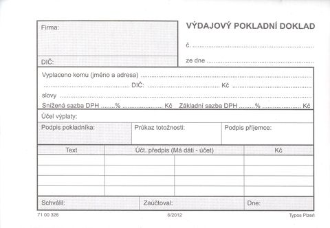 Pokladní doklad výdajový - copy,100 listů