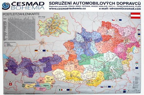 Nástěnná mapa - Rakousko s PSČ