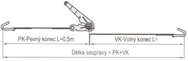 Upínací pás 10 m/5 t s ráčnou a zakončený dvěma háky