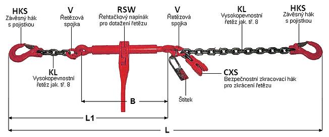 Kotevní řetěz 6300kg, pr.10mm, 4m napínací ráčna