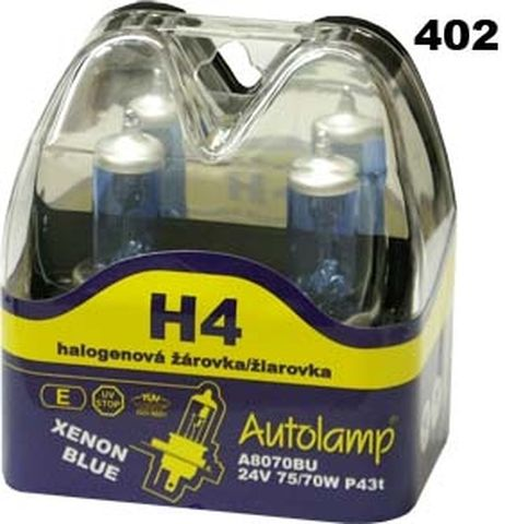 krabička AUTOLAMP H4 24V 75/70W P43t XENON BLUE 2ks